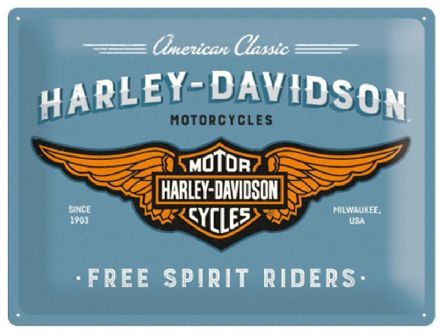 Harley Davidson Logo Blue - 3D  Metal Wall Sign